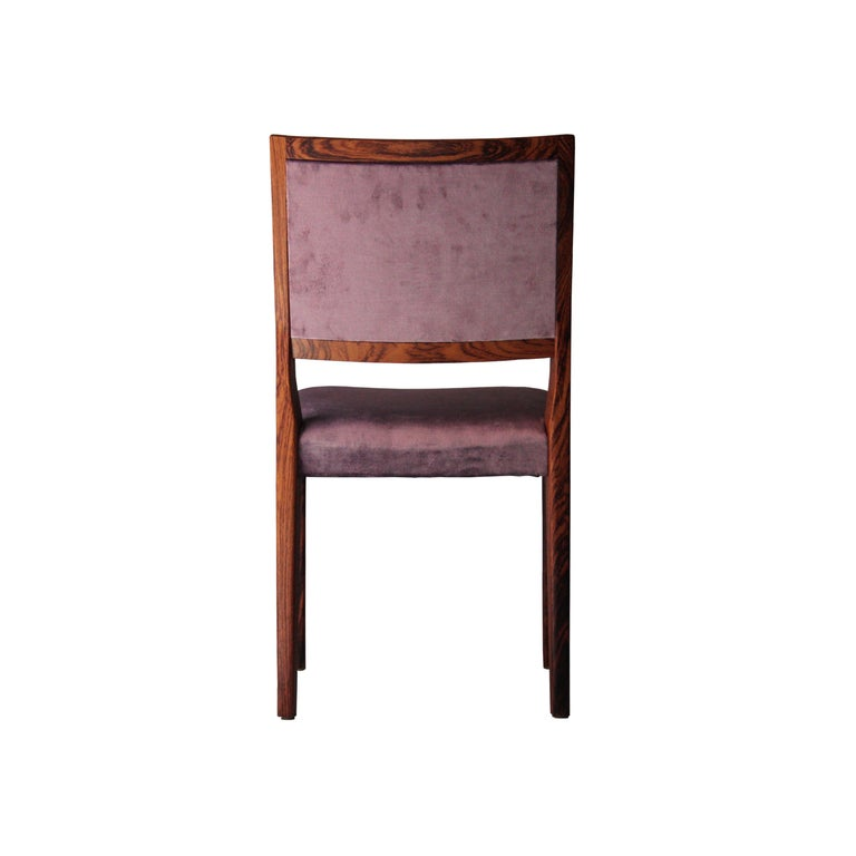 Midcentury Brown Purple Velvet Set of Four Chairs, Sweden, 1960 In Good Condition For Sale In Madrid, ES
