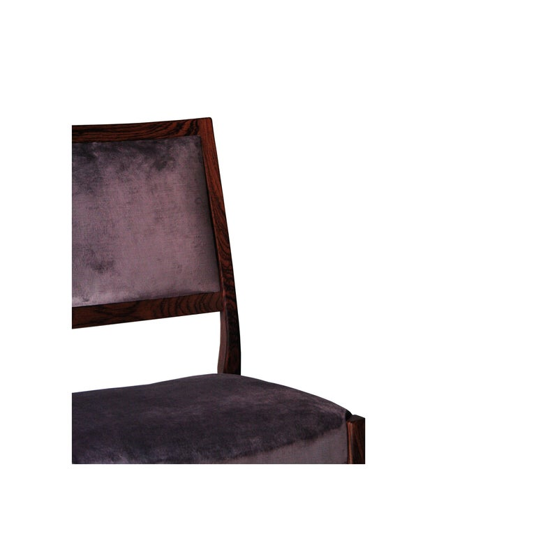 Midcentury Brown Purple Velvet Set of Four Chairs, Sweden, 1960 For Sale 1