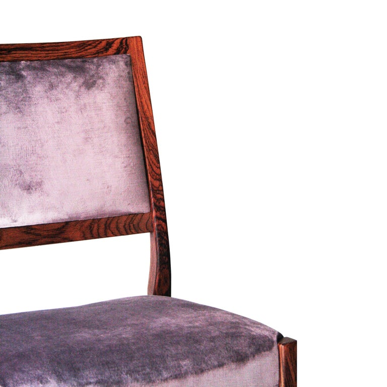Midcentury Brown Purple Velvet Set of Four Chairs, Sweden, 1960 For Sale 2
