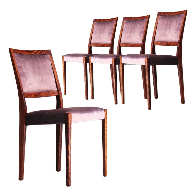 Midcentury Brown Purple Velvet Set of Four Chairs, Sweden, 1960 For Sale