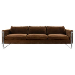 Midcentury Brown Velvet and Chrome Sofa Attributed to Milo Baughman