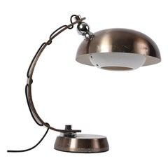 Midcentury Brushed Bronzed Aluminium Table Lamp Attributed to Arredoluce, 1970s
