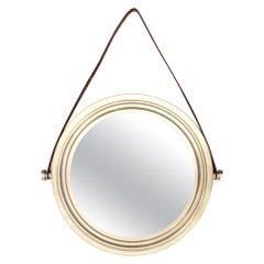 Midcentury Brushed Nickel-Plated Brass Italian Wall Mirror, 1960s