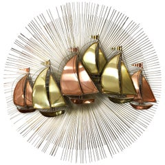 Midcentury Brutalist Brass Sunburst Starburst Sailboat Sculpture
