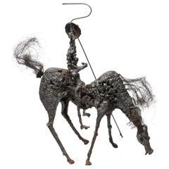 Midcentury Brutalist Don Quixote on Horse Sculpture