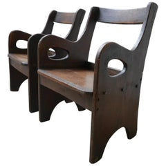 Midcentury Brutalist Low Occasional Armchairs