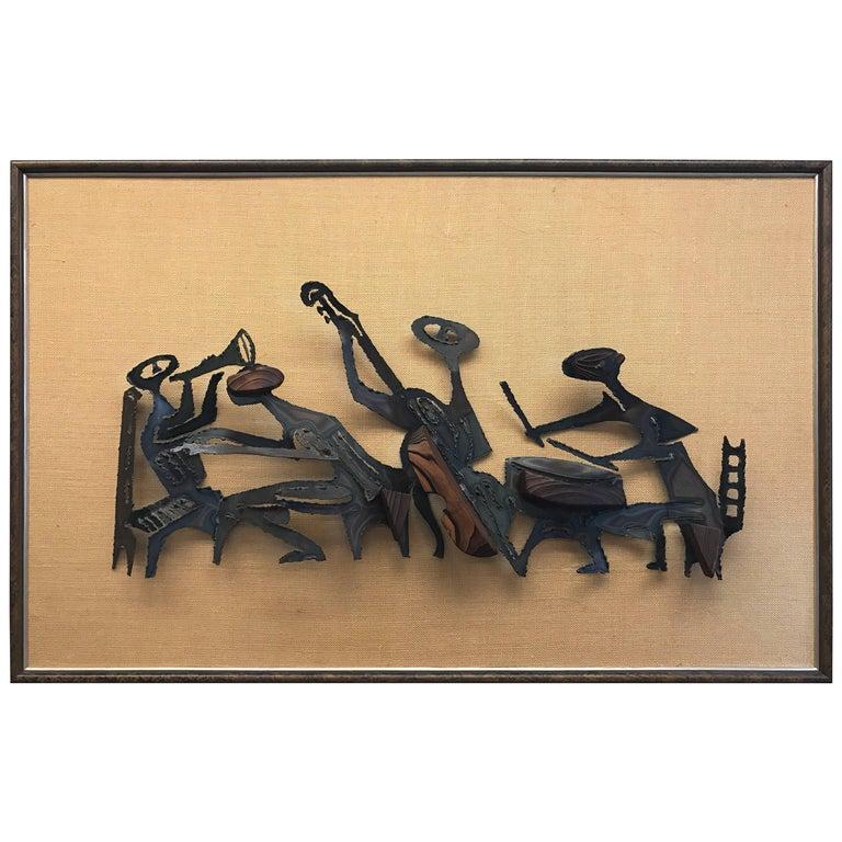 Midcentury Brutalist Metal Sculpture Wall Art on Frame For Sale