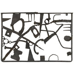 Midcentury Brutalist Metal Wall Sculpture