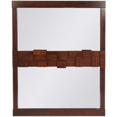 Midcentury Brutalist Mirror by Lane