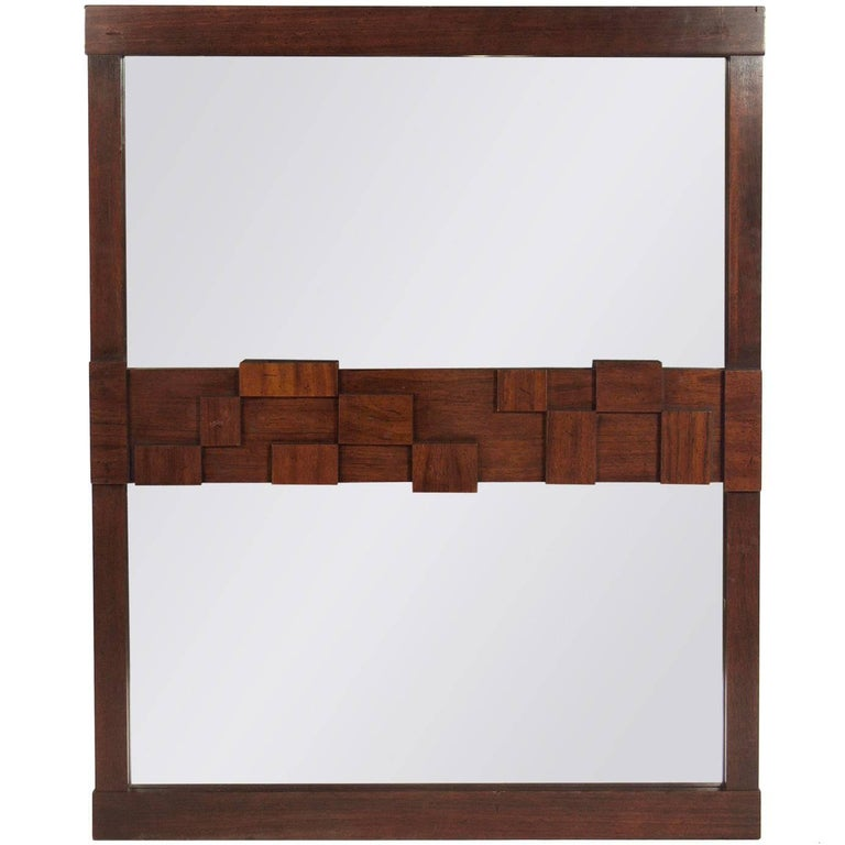 Midcentury Brutalist Mirror by Lane For Sale