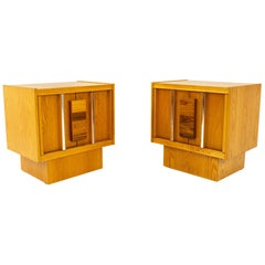 Mid Century Brutalist Oak Rosewood and Chrome Nightstands, Pair