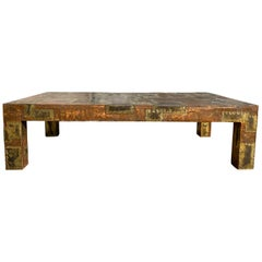 Midcentury Brutalist Patchwork Coffee Table Style of Paul Evans
