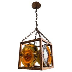 Italy Midcentury Brutalist Pendant Light with Stunning Mouth Blown Glass Discs