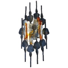 Midcentury Brutalist Sconce Iron and Murano Glass