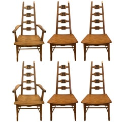 Midcentury Brutalist Set of Six Adrian Pearsall Style Oak Dining Chairs