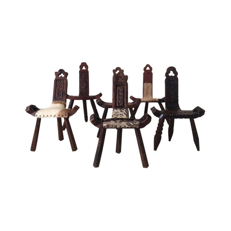 Midcentury Brutalist Spanish Stools, Chairs