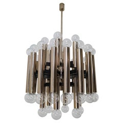 Midcentury Brutalist Steel Chandelier with 48-Light Bulbs, Berlin, 1960s