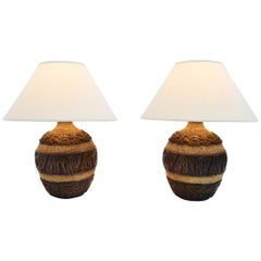Midcentury Brutalist Style Bulbous Ceramic Table Lamps in Bronze