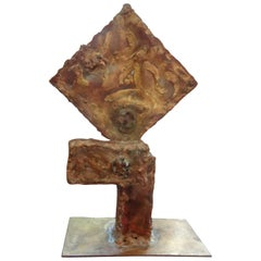 Midcentury Brutalist Torch Cut Metal Abstract Sculpture