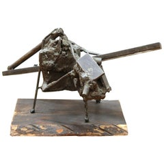Midcentury Brutalist Welded Metal Abstract Assemblage Sculpture