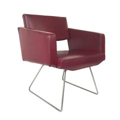 Midcentury Burgundy Faux Leather French Armchair in the Style of Motte, 1950s