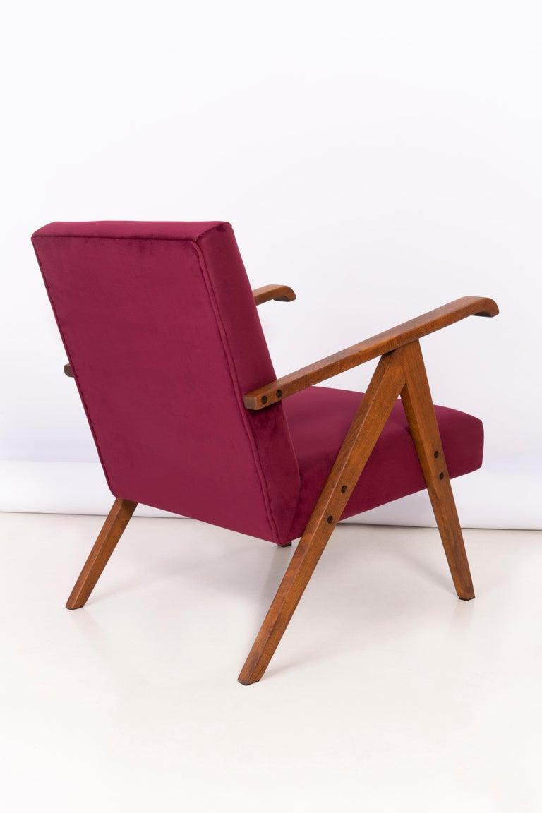 Midcentury Burgundy Velvet VAR Armchair, 1960s For Sale 4