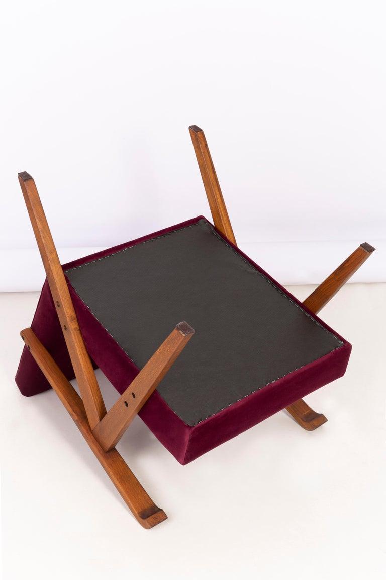 Midcentury Burgundy Velvet VAR Armchair, 1960s For Sale 5
