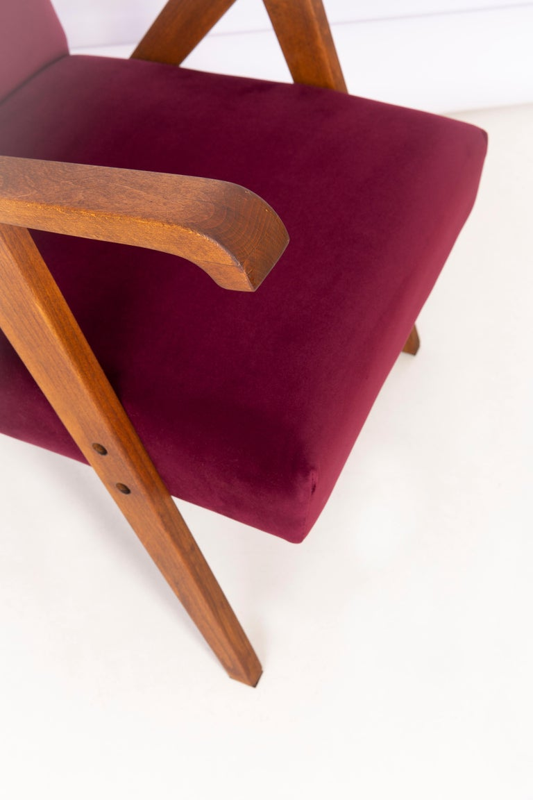 Hand-Crafted Midcentury Burgundy Velvet VAR Armchair, 1960s For Sale