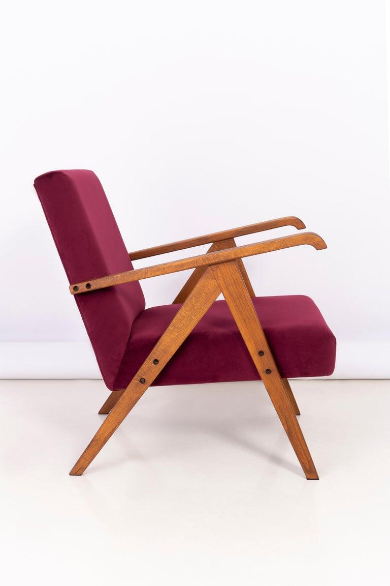 20th Century Midcentury Burgundy Velvet VAR Armchair, 1960s For Sale