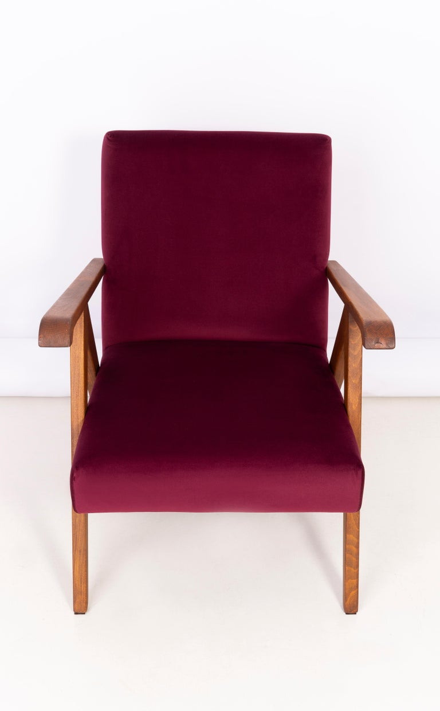 Textile Midcentury Burgundy Velvet VAR Armchair, 1960s For Sale