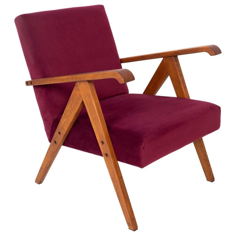 Midcentury Burgundy Velvet VAR Armchair, 1960s For Sale