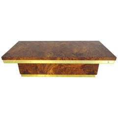 Midcentury Burl Wood and Brass Coffee Table