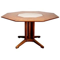 Midcentury Burl Wood and Travertine Dining Table Attributed to Harvey Probber