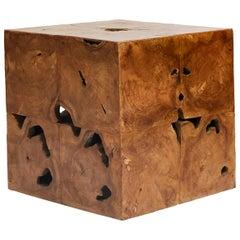 Midcentury Burl Wood Side Table