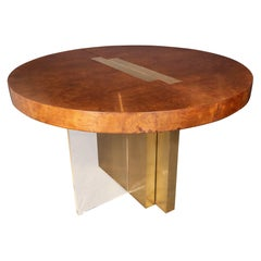 Midcentury Burled Ash, Brass and Lucite Center/Dining Table by Vladimir Kagan