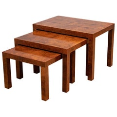 Midcentury Burled Nesting Tables by Directional