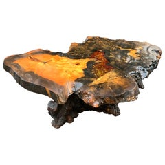 Midcentury Burlwood Resin Cocktail or Coffee Table, Burl Wood Co, California