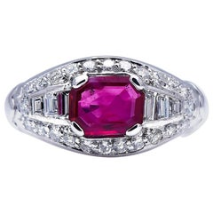 Midcentury, Burmese Ruby and Diamond Cluster Ring