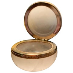 Midcentury Burnished Alabaster Cream Trinket Box, Pill Case, Ormolu, Labelled