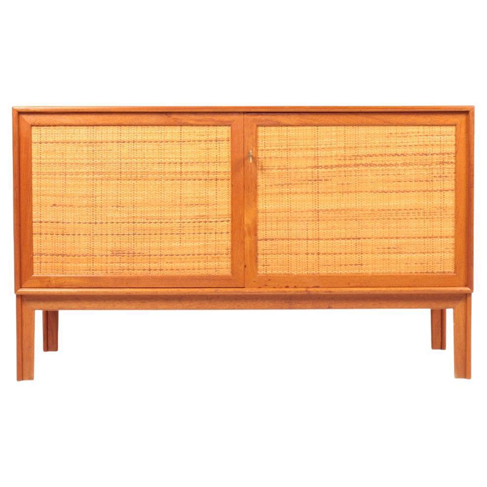 Midcentury Cabinet, Cane Panels in Teak, Designed by Alf Svensson, 1960s