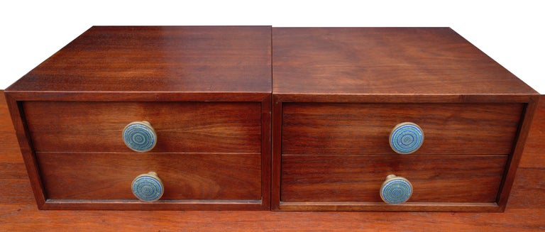 Brass Midcentury Cabinet Top Set of Drawers For Sale
