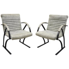 Midcentury Cal Style Furniture Art Deco Metal Frame Lounge Armchairs A, Pair
