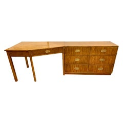 Midcentury Campaign Style Dresser and Faux Bamboo Desk 2-Piece Set