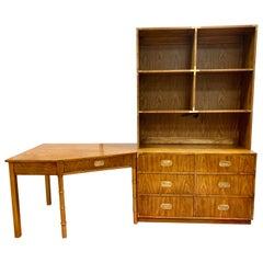 Midcentury Campaign Style Dresser, Desk and Bookshelves Unit 3-Piece Set