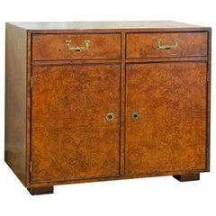 Midcentury Campaign Style Two-Drawer Burled Walnut Cabinet by John Widdicomb