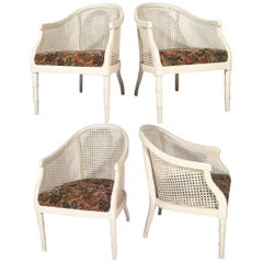 Midcentury Cane Back Barrel Chairs, Set of Four