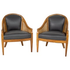 Mid Century Cane Chairs, Pair