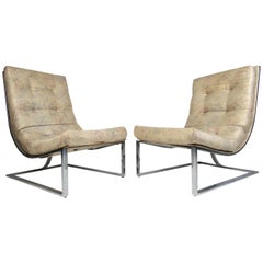 Midcentury Cantilevered Scoop Chairs, a Pair