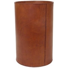 Midcentury Carl Auböck Brown Tan Leather Wastepaper Basket, Austria, 1950s