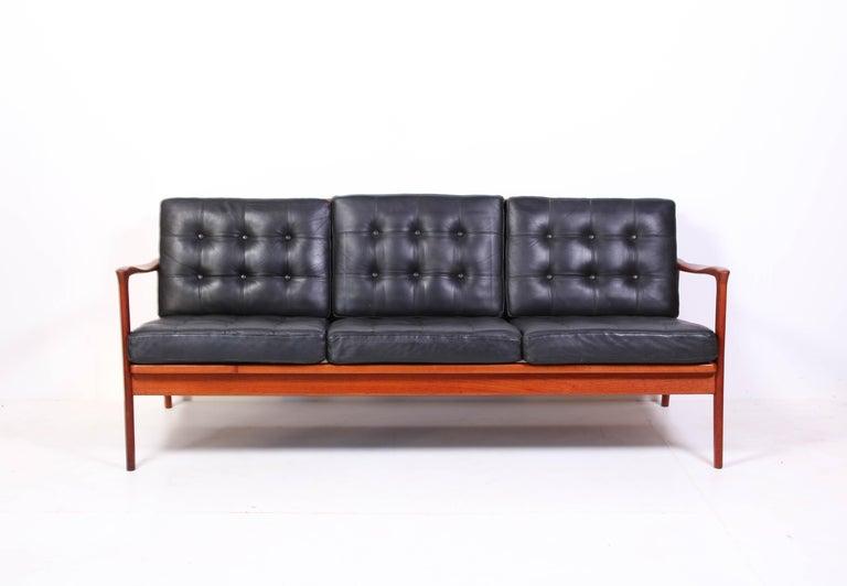 Midcentury Carl Erik Johansson Teak And Leather Sofa Böja By Bejra